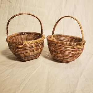 Pair of Vintage Handwoven Mini Baskets